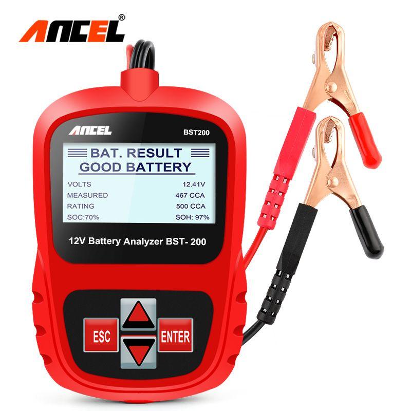 Car Battery Tester Ancel BST200 12V Automotive AGM GEL Cell 100-1100CCA 30-100Ah Tester Multi Languages Car Battery Analyzer