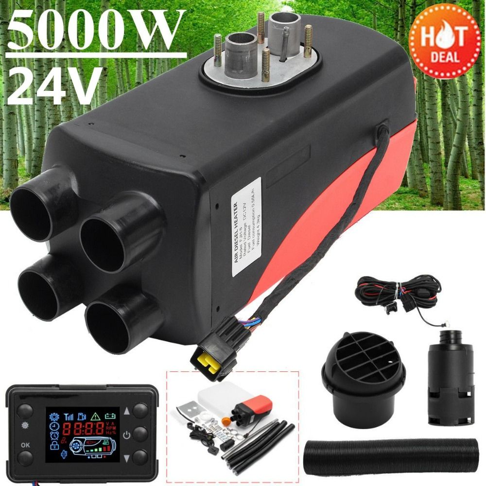 5KW 24V Air Diesels Heater Parking Heater Riscaldatore 4 Holes LCD Switch Car Heater Exhaust Silencer For Free