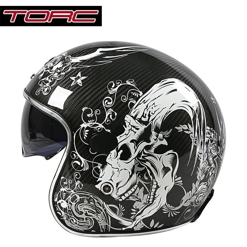 TORC V587 carbon fiber vintage motorcycle helmet with sun shield harley retro motorbike helmet open face scooter moto helmets