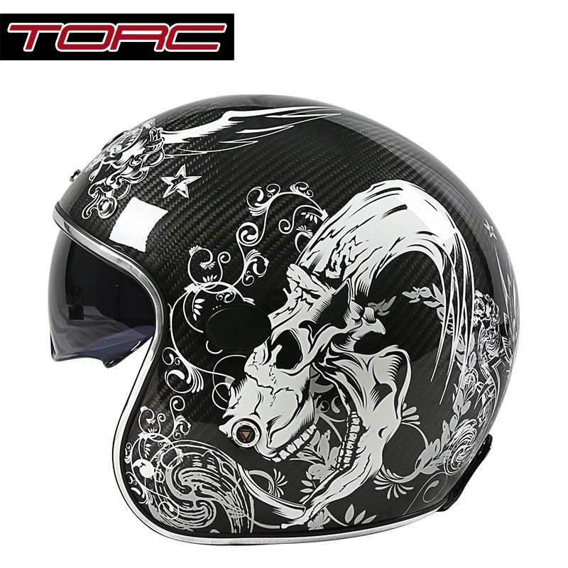 TORC V587 carbon fiber vintage motorcycle helmet with sun shield harley retro motorbike helmet open face scooter moto helmets