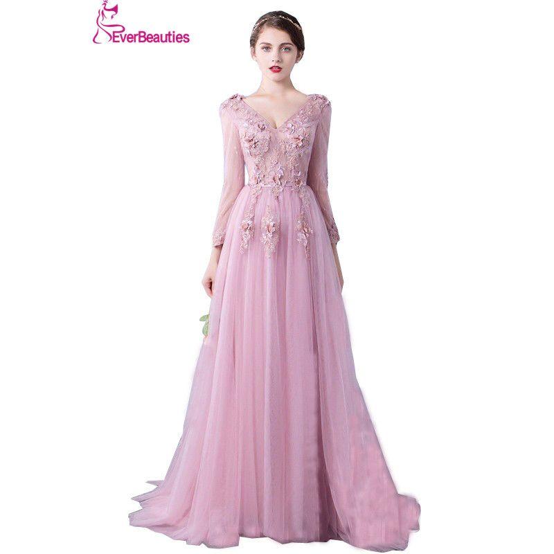 Evening Dress Long Sleeve 2018 A line Flowers V Neck Pink Lace Flowers Tulle Prom Dresses Lace Up Robe De Soiree Longue Dentelle