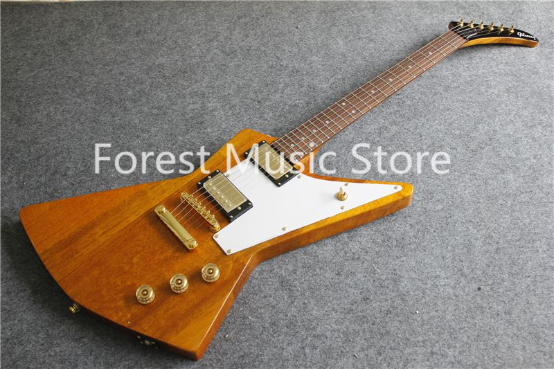 Hot Selling Yellow Finish Explorer Flying V Electric Guitar With Gold Hardware For Sale