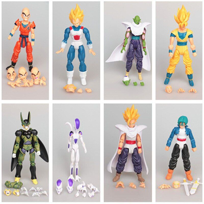 8pcs/lot Ferrite Dragon ball z action figures dragonball super movable joints seven doll set doll toy goku toys for children