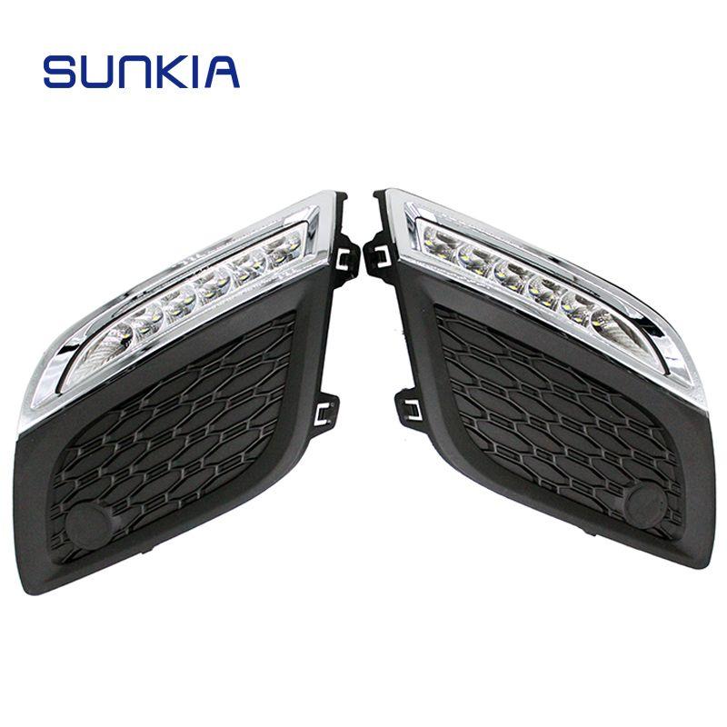 SUNKIA 12 V Hohe Helle Tagfahrlicht Auto Styling Externe Licht DRL für Volvo XC60 2011-2013 mit gedimmt Licht Funktion