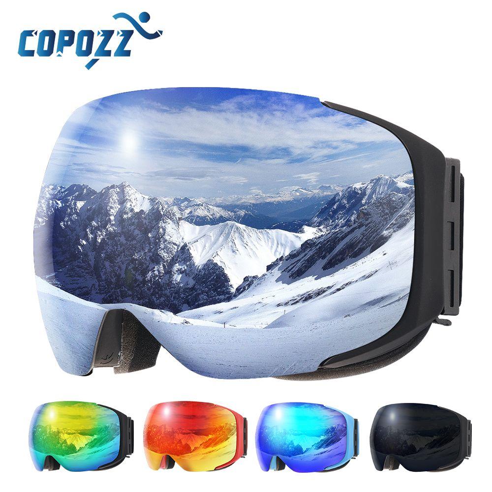 COPOZZ brand ski goggles replaceable magnetic lenses UV400 anti-fog ski mask skiing men women <font><b>snow</b></font> snowboard goggles GOG-2181