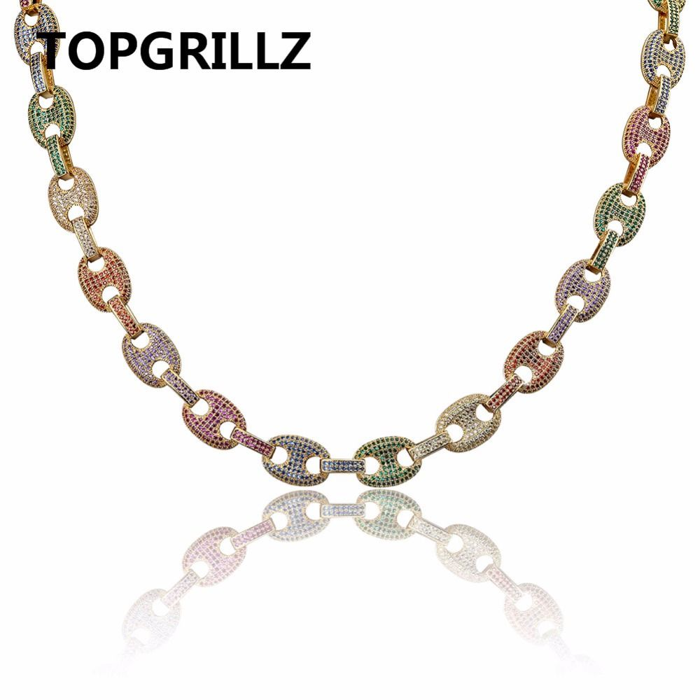 TOPGRILLZ Hip Hop Men Jewelry Choker Copper Gold/Silver Color Plated Iced Out AAA+CZ Multicolor Chain Necklace With 18 22inch