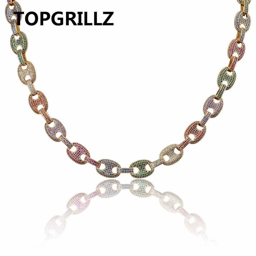 TOPGRILLZ Hip Hop Männer Schmuck Halsband Kupfer Gold/Silber Farbe Überzogen Iced Out AAA + CZ Multicolor Halskette mit 18 22 zoll