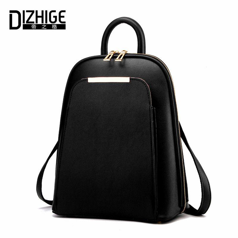 DIZHIGE Brand 2017 Solid High Quality PU Leather Backpack Women Designer <font><b>School</b></font> Bags For Teenagers Girls Luxury Women Backpacks