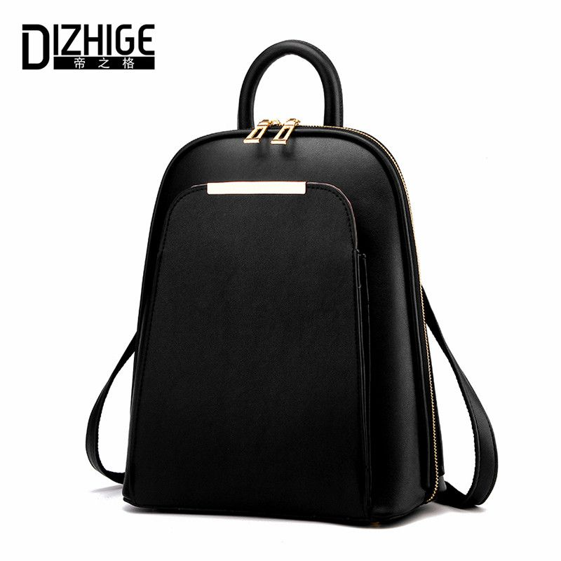 DIZHIGE Brand 2017 Solid High <font><b>Quality</b></font> PU Leather Backpack Women Designer School Bags For Teenagers Girls Luxury Women Backpacks