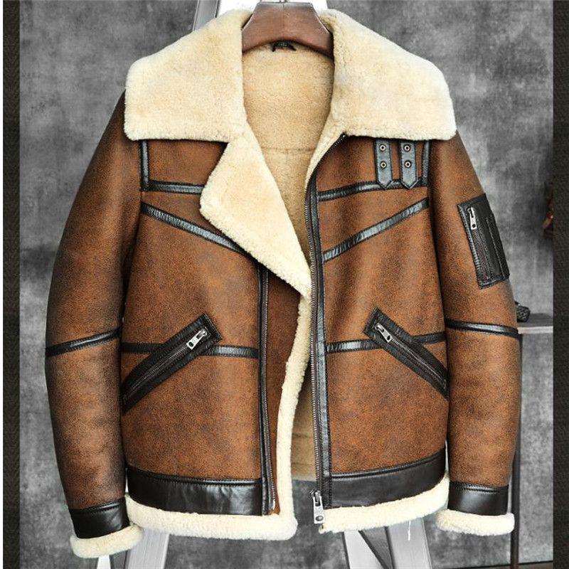 Männer der B3 Lammfell Schaffell Bomber Jacke Piloten Mantel herren Pelzmantel Winter Fliegen Jacke