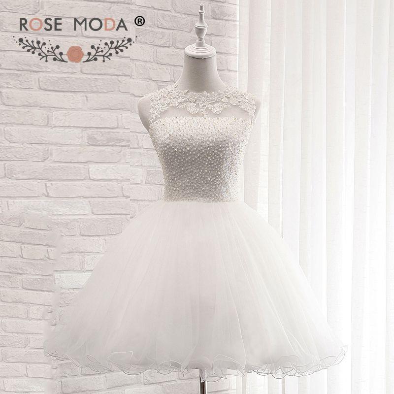 Rose Moda White Short Graduation Dress with Ball Skirt Backless Back to School Dress Formal Dress Party Dress 2018