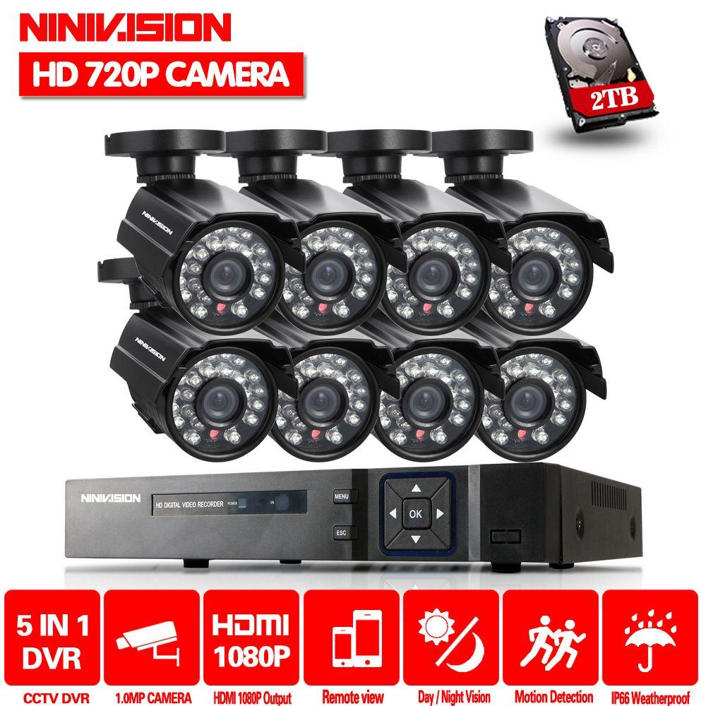 2TB HDD 8CH 1080P AHD kit 2000tvl cctv system 1080p HDMI AHD DVR 1.0MP 720p AHD camera IR waterproof outdoor cctv camera system