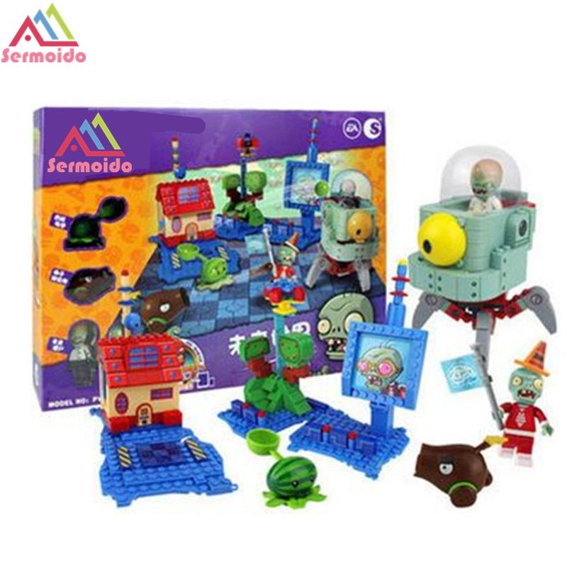 SERMOIDO Plantes Vs Zombies Jardin Labyrinthe Frappé Jeu D'action Toy & Chiffres Anime Figure Building Blocks Briques Brinquedos Jouets B13