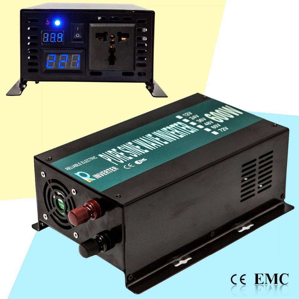 Off Grid Pure Sine Wave Solar Inverter 24V 220V 600W Car Power Inverter Generator 12V/24V DC to 110V/120V/220V/240V AC Converter
