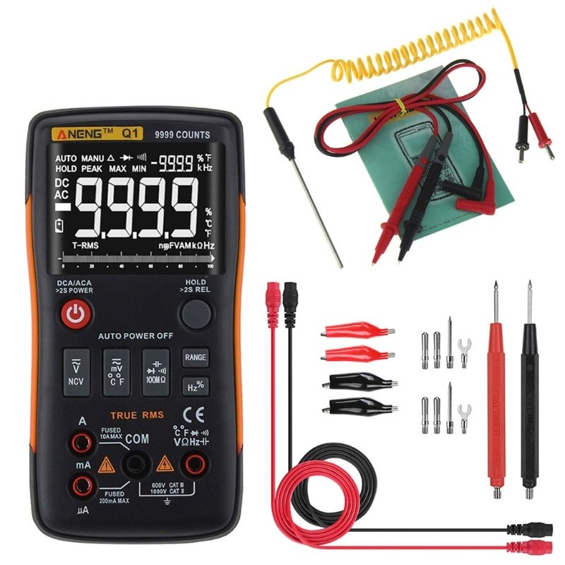 ANENG Q1 True-RMS Digital Multimeter Button 9999 Counts With Analog Bar Graph AC/DC Voltage Ammeter Current Ohm Auto/Manual XJ36