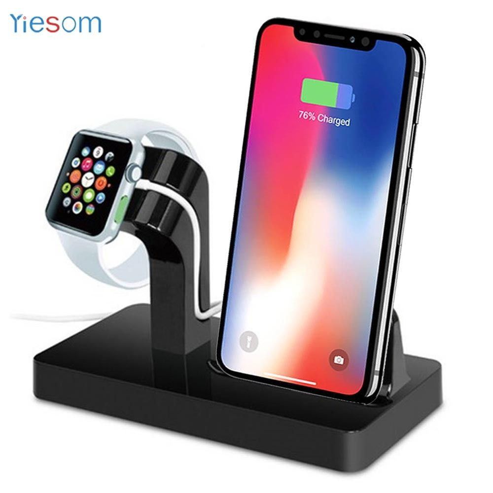 YIESOM 2 IN 1 <font><b>Charging</b></font> Dock Station Cradle Stand Holder Charger For iPhone X XR XS Max 8 7 6S 6 Plus SE For Apple Watch Charger