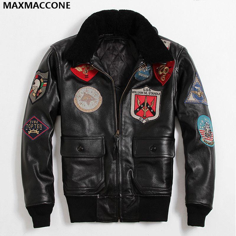 2018 Men Black TOP GUN Leather Pilot Jacket Wool Collar Real Thick Cowhide Plus Size XXXL Warm Russian Pilot Coat Can Customized