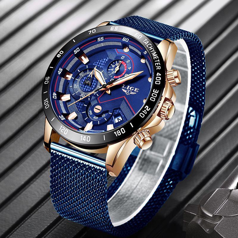 2019 New LIGE Blue Casual Mesh Belt Fashion Quartz Gold Watch Mens Watches Top Brand Luxury Waterproof Clock Relogio Masculino