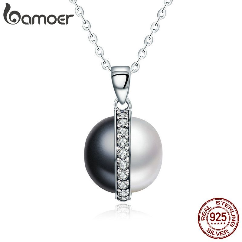 BAMOER Real 925 Sterling Silver Black and White Dazzling Clear CZ Chain Pendant Necklace Women Sterling Silver Jewelry SCN199