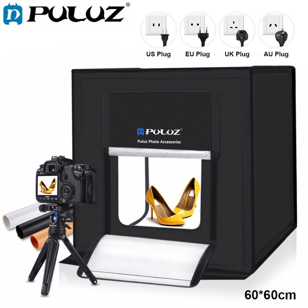 PULUZ LED Lightbox 60*60cm LED Photo Studio Softbox Shooting Light Tent US Plug Power Adapter Compatible with US/CA