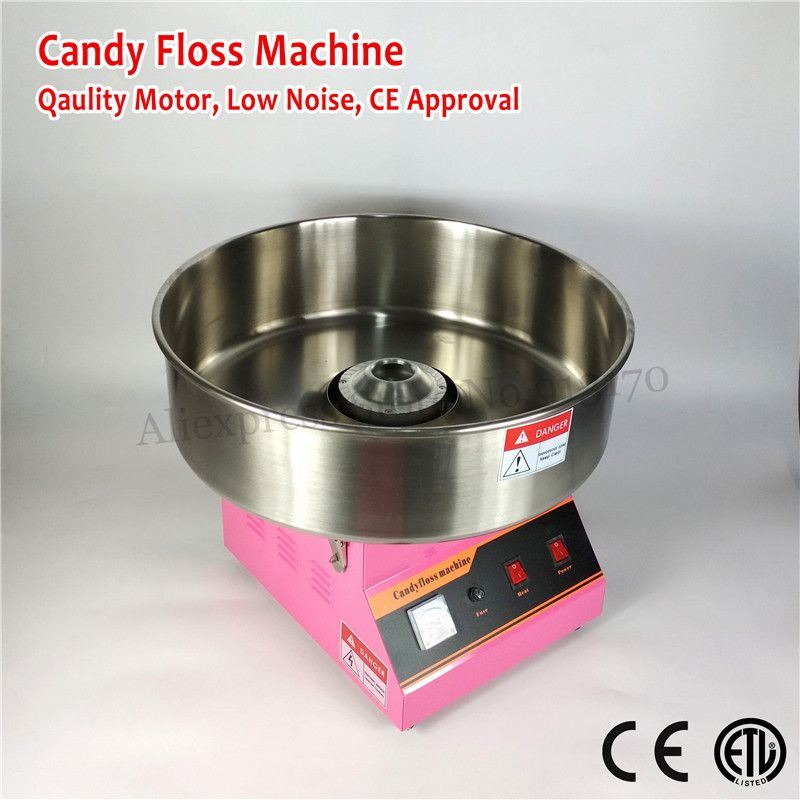 Commercial Quality Cotton Candy Machine Electric Candy Floss Maker PINK Color 52cm Stainless Steel Bowl Scoop 220V~240V CE