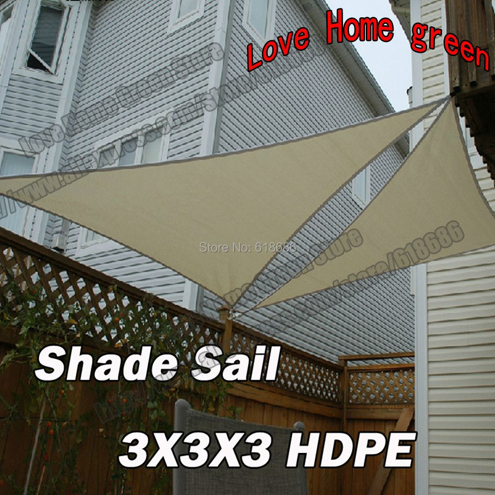 HDPE Triangular Sun Patio Shade Sail Combination Shade Net Awning Canopy garden Tent Canopy 3m X 3m X3m