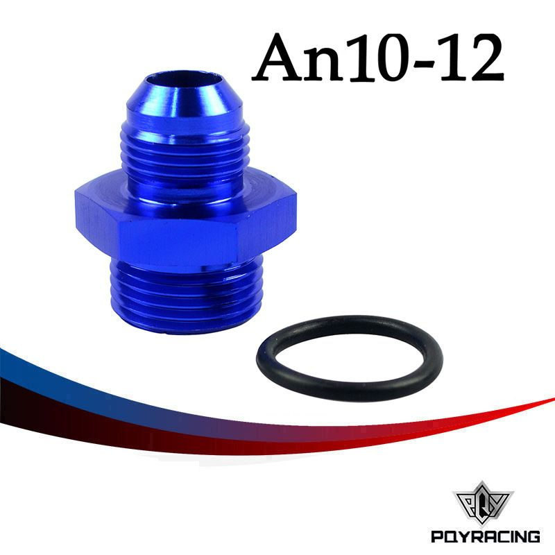 PQY RACING- AN10-10AN MALE to Straight Cut Male AN12-12AN Fittings Adaptor w/O-Ring PQY-SL920-10-12-011