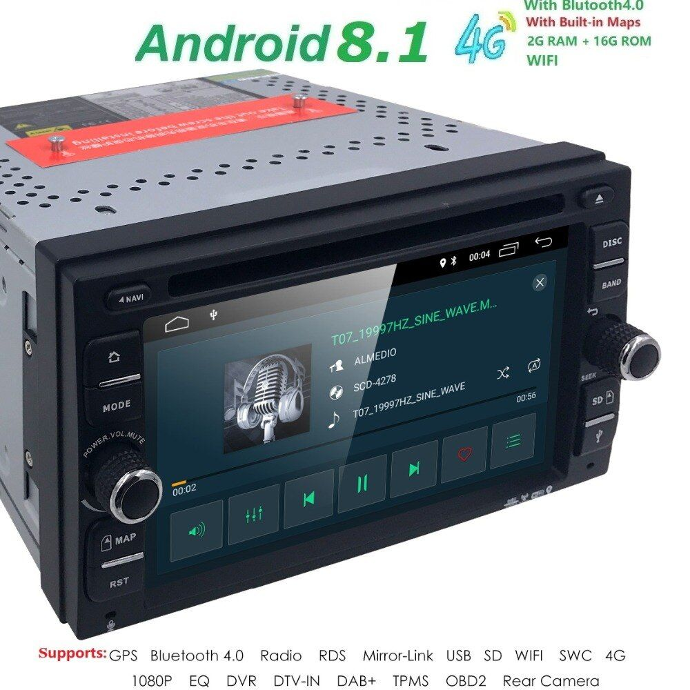 Quad Core Android 8.1 4G WIFI Double DIN Touch screen Car DVD Player Radio Stereo GPS Navi DVR DAB SWC BT MAP Mirror-link RDS