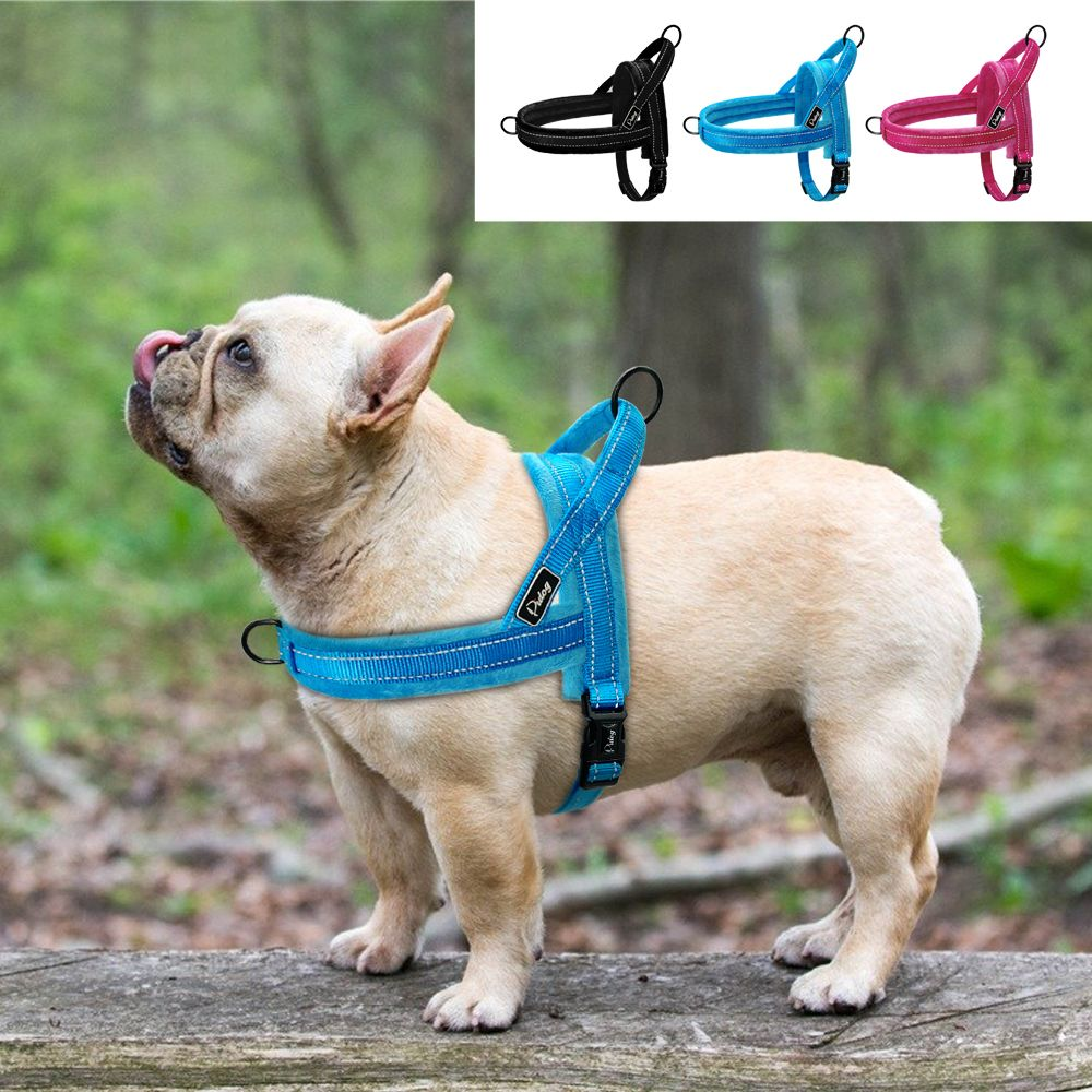 Soft No Pull Dog Harness Vest Flannel Padded Pet Large Dog Harness Nylon Reflective For Medium Large Dogs Pitbull Bulldog Pug