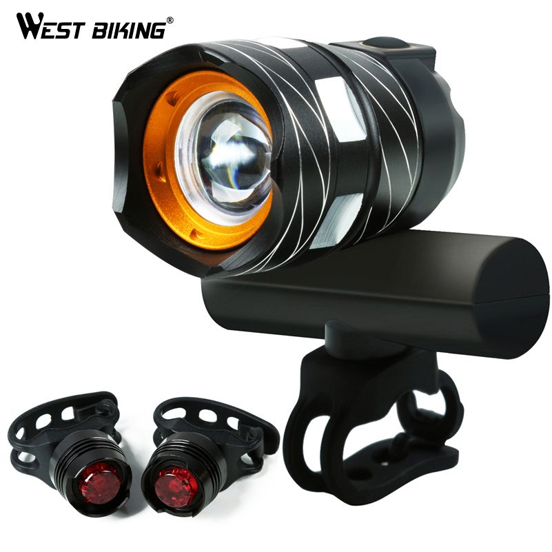 WEST BIKING 1200LM Zoomable Bicycle Light 4 Modes Wide Headlight USB Rechargeable Waterproof Front <font><b>Lamp</b></font> Taillights Bike Light