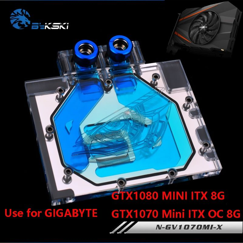BYKSKI Water Block use for GIGABYTE GTX1080MINI-ITX-8G/GTX1070MINI-ITX-OC-8G/Full Cover Graphics Card Copper Radiator Block RGB