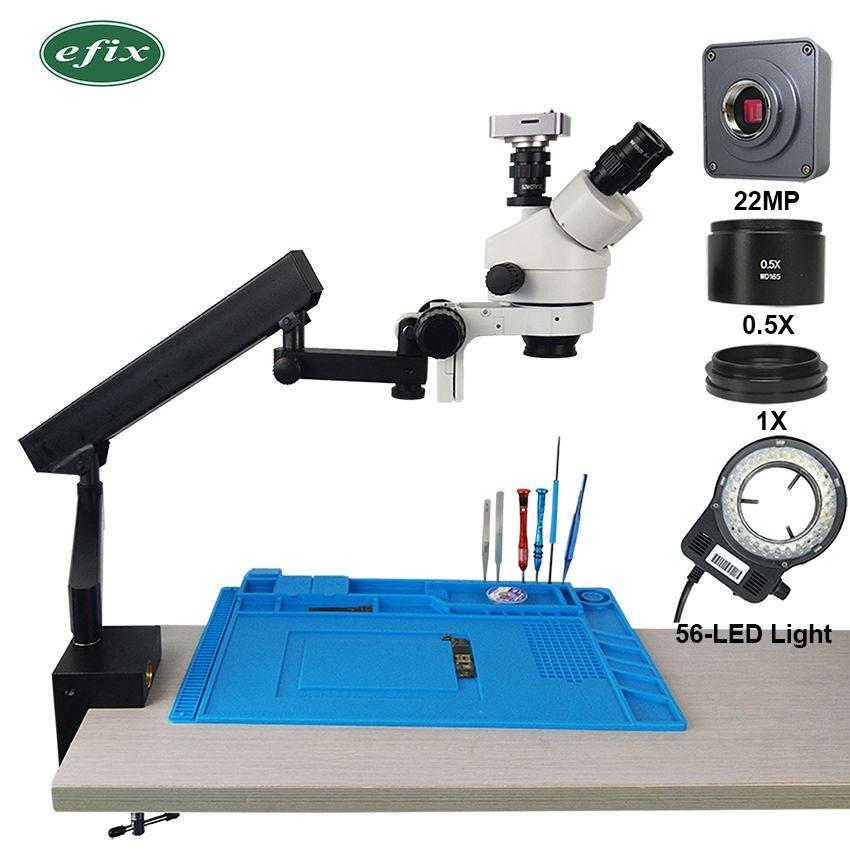 Efix 22MP HDMI USB 3.5-45X Trinocular Stereo Mikroskop Simul-Focuse Gelenk Arm Stehen Zoom Digital Kamera Telefon Reparatur