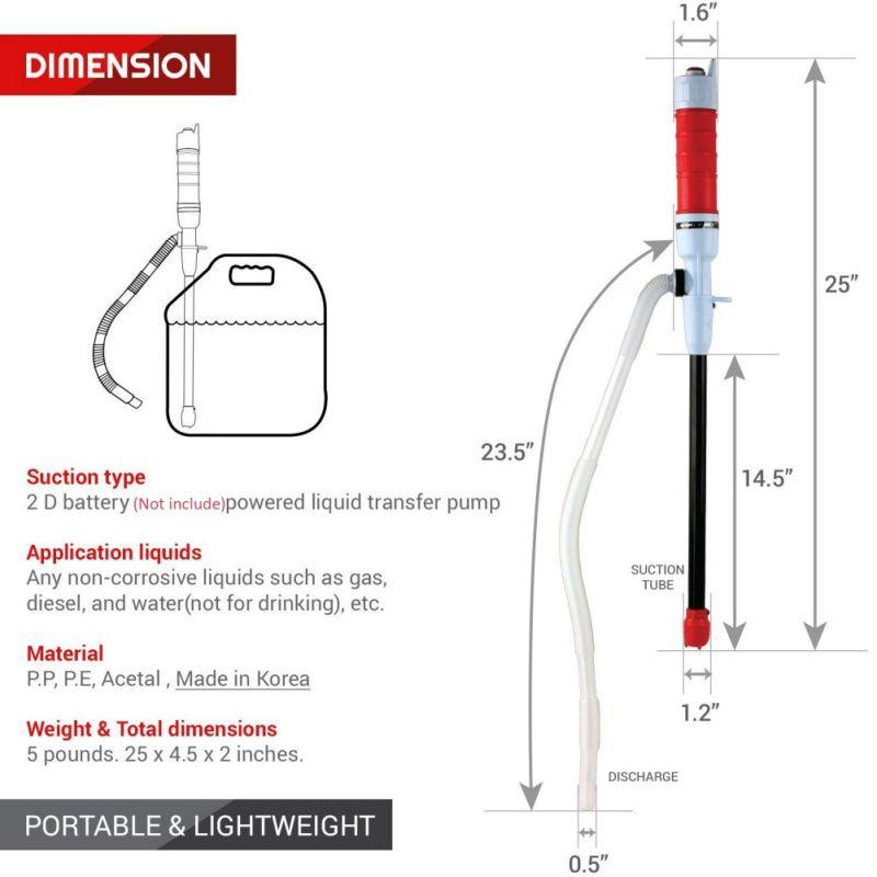 Water Pump Powered Electric Outdoor Car Auto Vehicle Fuel Gas Transfer Suction Pumps Liquid Transfer Oil Non-Corrosive Liquids