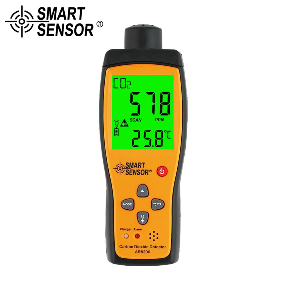 SMART SENSOR Gas Analyzer CO2 Meter Monitor Gas Detector Handheld Carbon Dioxide Detector CO2 Tester Measuring range 350~9999PPM