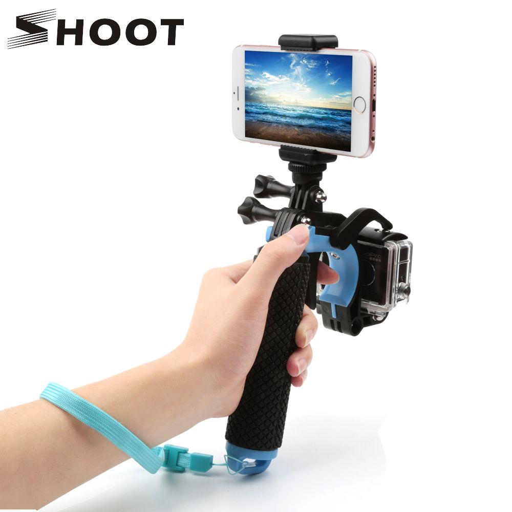 TIRER Float Pistolet Déclencheur Main Grip pour GoPro Hero 6 5 7 4 Sjcam Yi 4 k h9 Caméra avec Téléphone Clip Trépied Bobber Aller Pro Montage