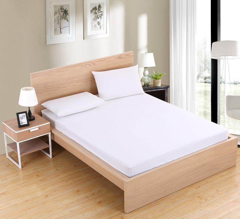 Dreamworld nouveau Arrivel 100% Polyester drap de lit solide couleur drap housse doux blanc draps avec bande élastique 80 160 linge de lit
