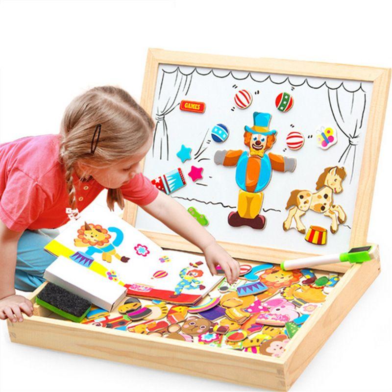 100 + PCS en bois magnétique Puzzle Figure/animaux/véhicule/cirque planche à dessin 5 styles boîte jouet éducatif cadeau