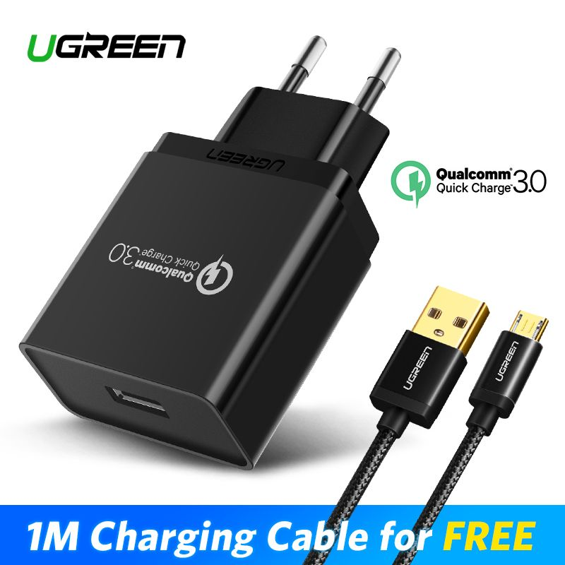 Ugreen USB Charger 18W Quick Charge 3.0 Mobile <font><b>Phone</b></font> Charger for iPhone Fast QC 3.0 Charger for Huawei Samsung Galaxy S9+ S8+