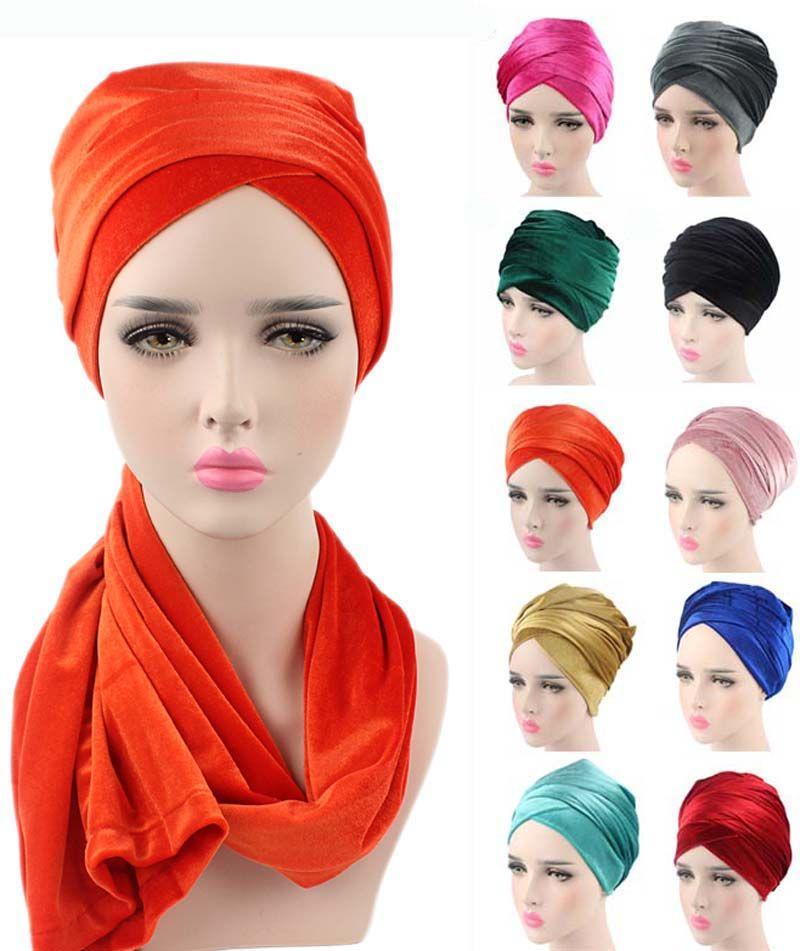 Nouvelle mode femmes luxe plissé velours Turban hijab tête Wrap Extra Long tube indien foulard cravate