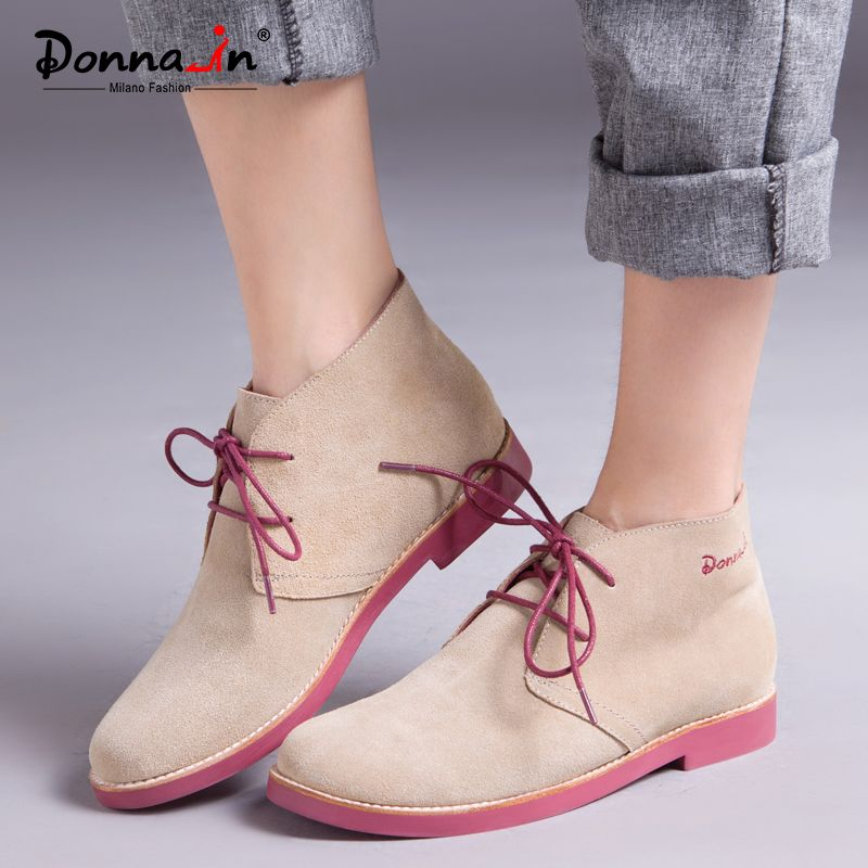 Donna-in Ankle Boots for Women Genuine Leather Casual Shoes Booties Woman 2018 Lace up Plus Size Flat Brand Martin Boots Ladies