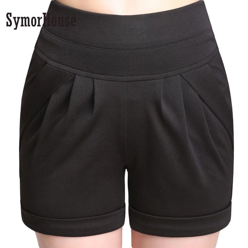 SymorHouse Plus Size 4XL Summer Casual High Waist Women Shorts 6 Colors Elastic Waist Pocket  Large Loose Harem Hot Shorts women