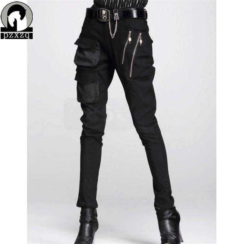 Mode femmes Style européen Harem pantalon noir crayon pantalon 100% haute qualité élastique taille extensible matériel 2019 N