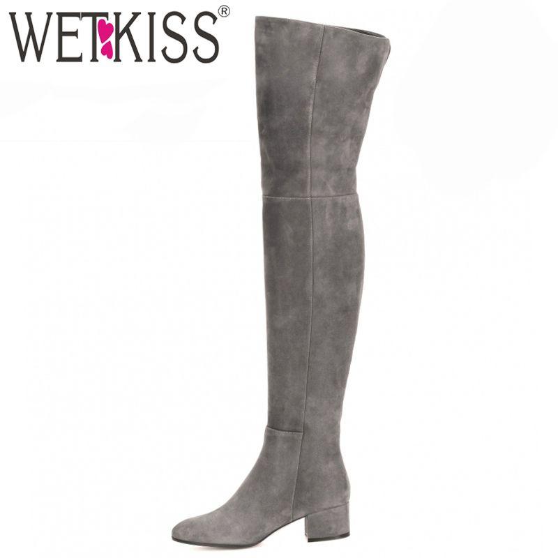 WETKISS Nouveau Arrivent Superstar Sur Genou Bottes Femmes De Mode D'hiver Bottes Femme Chaussures Automne Zip Épais Talon Cuissarde femelle