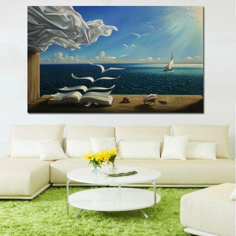 Salvador Dali Leinwand Kunstdruck Poster Die Wellen Buch Segel Bild Leinwand malerei Tagebuch von Entdeckung durch Vladimir Kush