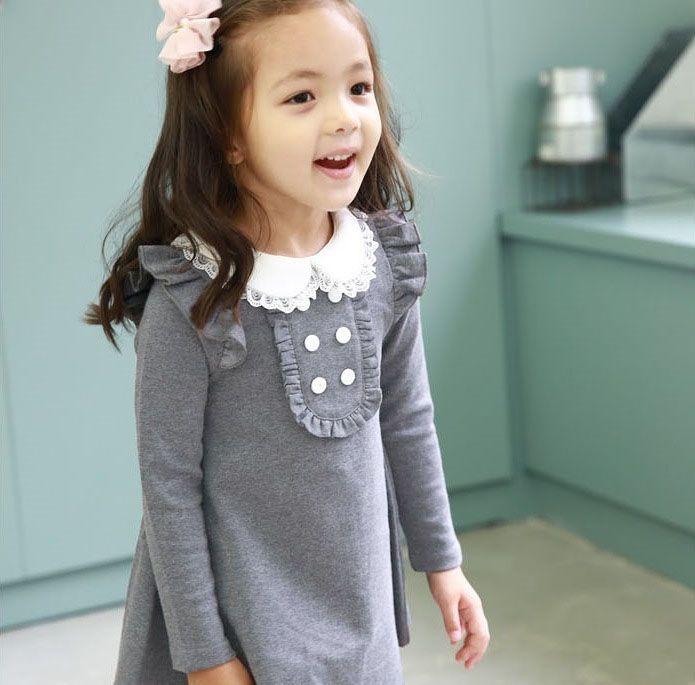 2017 Демисезонный Новое поступление для девочек из хлопка Корейская одежда Мини платье с накладным воротником и длинным рукавом детская одеж...