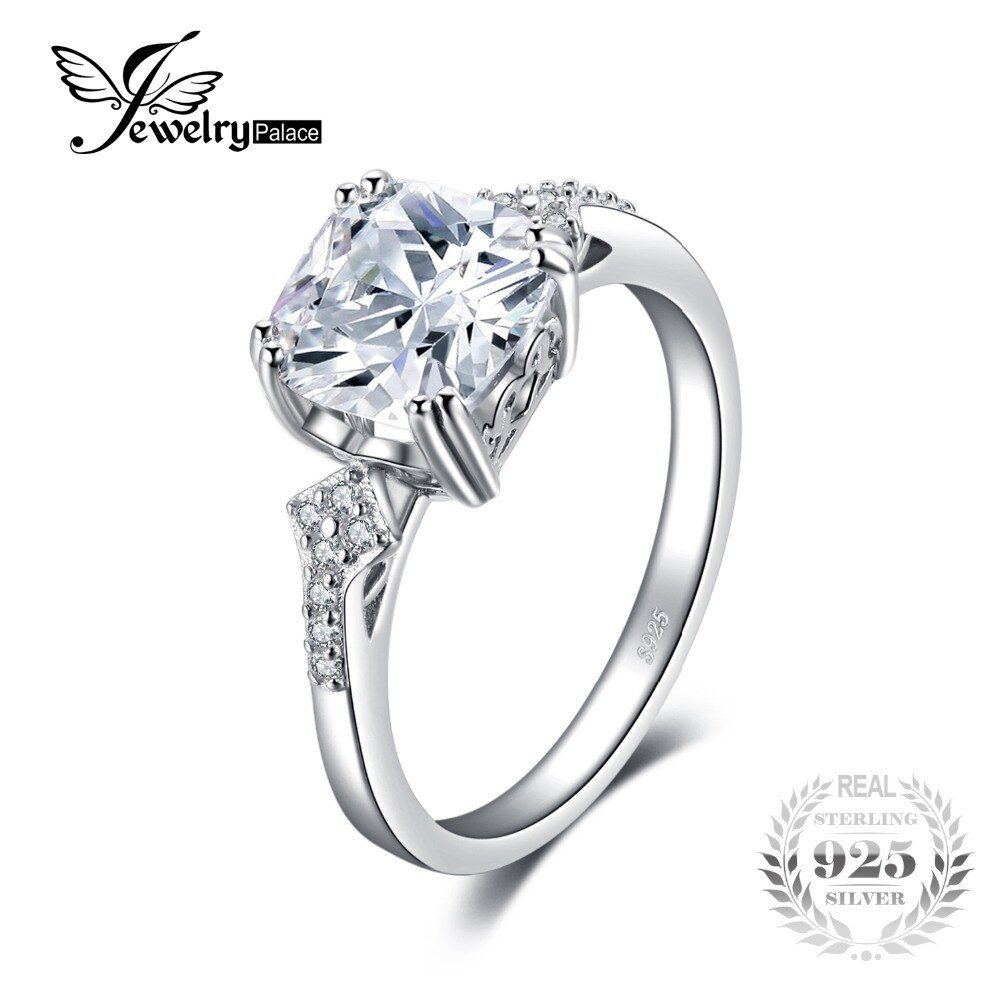 JewelryPalace Vintage 3ct Cushion-Cut Cubic Zirconia Statement Ring For Women Best Gift 925 Sterling Silver Jewelry Accessories