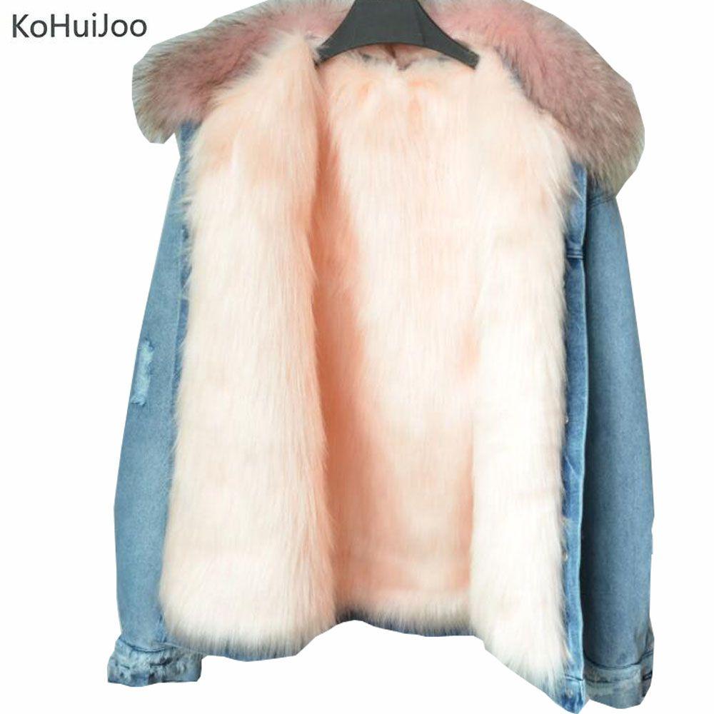 KoHuiJoo Women Winter Warm Denim Jacket with Real Raccoon Fur Collar Fashion Faux Fur Fox Lining jean Coat Long Sleeve Pockets