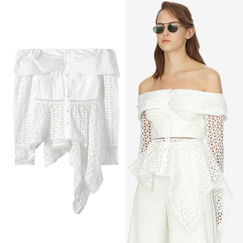 SIPAIYA 2017 Ladies Clothing Office Blouse Tops Sexy Off Shoulder Ruffles Elastic Slash Neck Women Shirts Blouses Short Sleeve