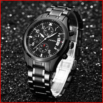 SINOBI Wristwatches Chronograph Men's Watches Date Waterproof Quartz Watch for Male Sports Clock with Full Stainless Steel 2019