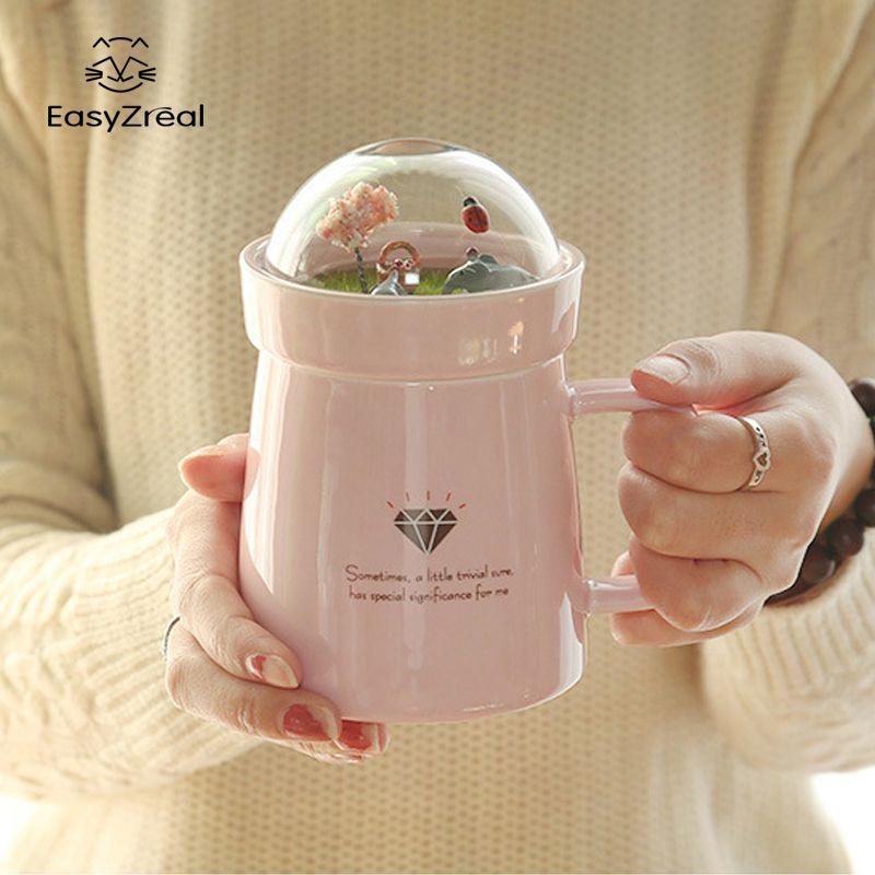 EasyZreal créatif dessin animé Animal Micro paysage Caneca lait et tasse à café 400mltasses en céramique de bureau de haute capacité cadeaux de beauté
